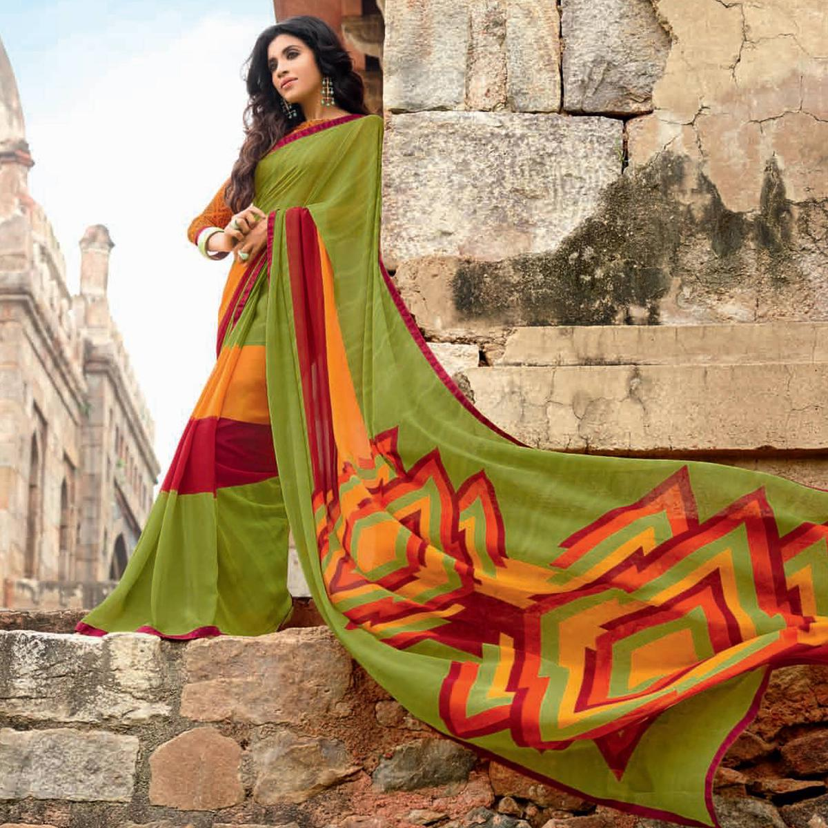Stunning Green Colored Casual Printed Weightless Georgette Saree
