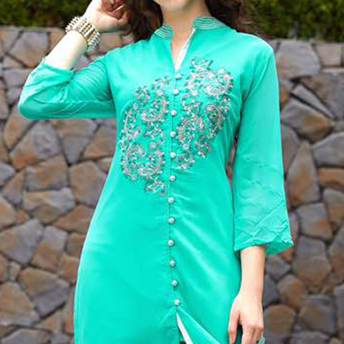Light Firozi Color Georgette Kurti