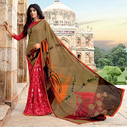 Stylish Red-Brown Colored Half N Half Casual Printed Weightless Georgette Saree