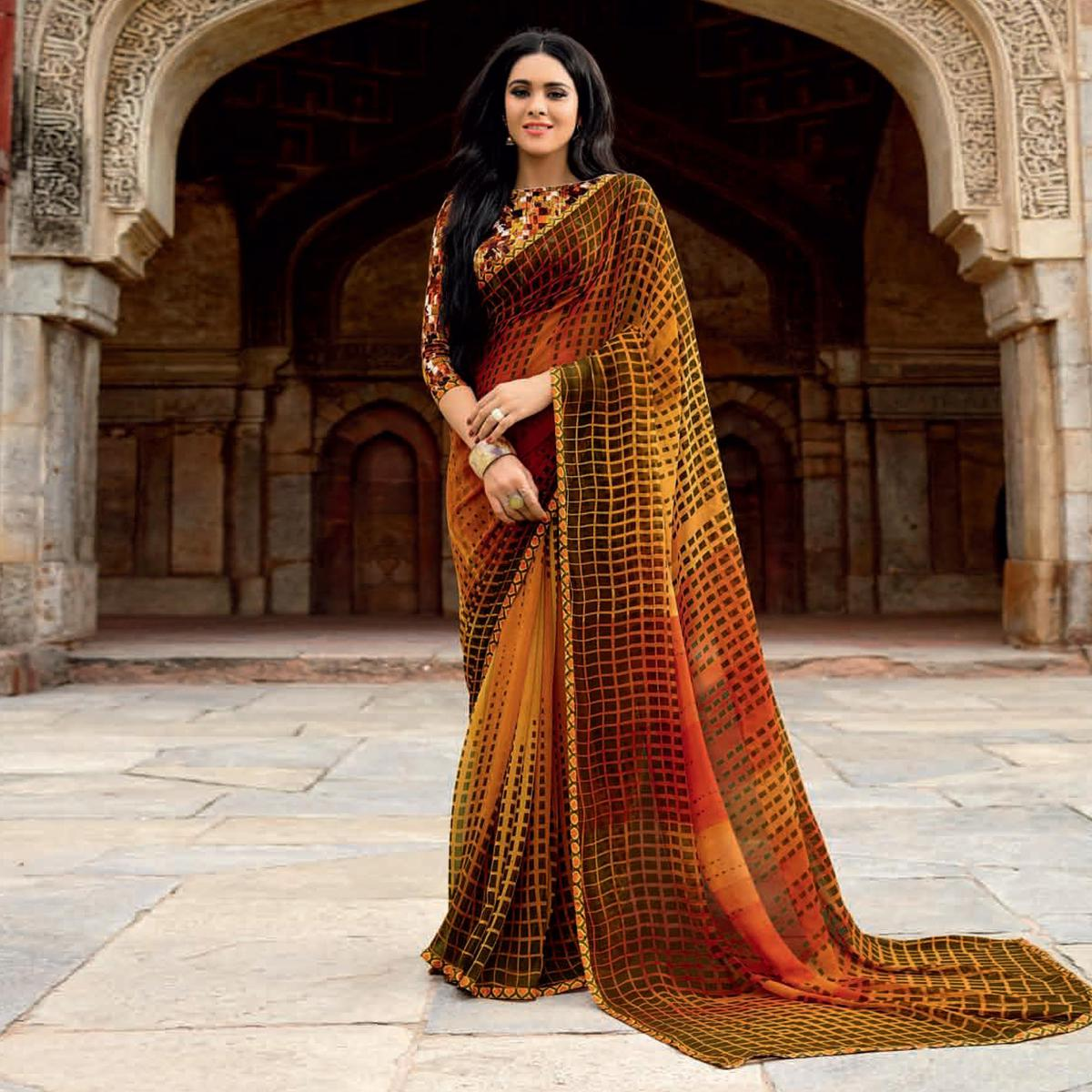 Beautiful Yellow-Black Colored Casual Printed Weightless Georgette Saree