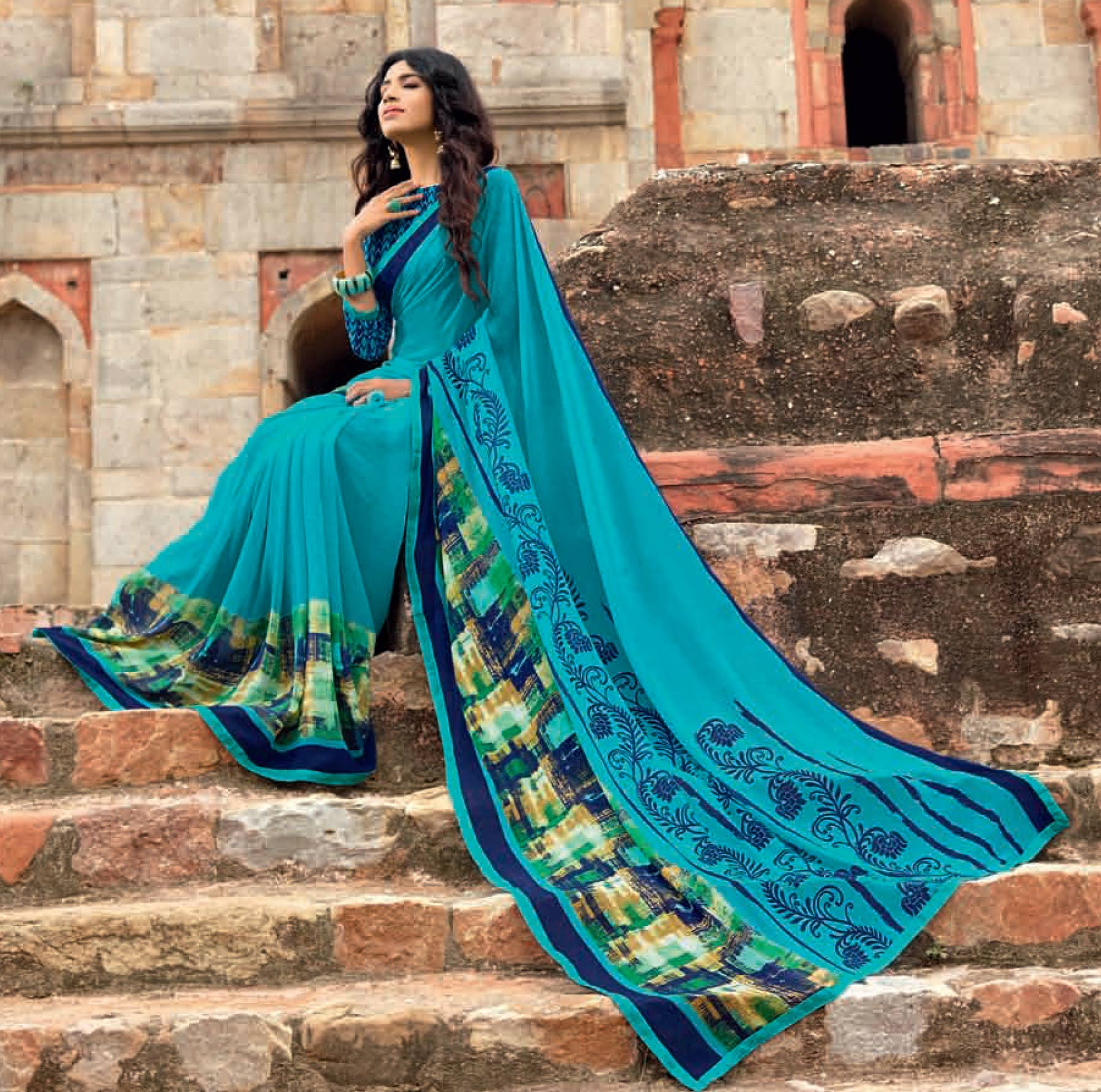 Sizzling Blue Colored Casual Printed Weightless Georgette Saree