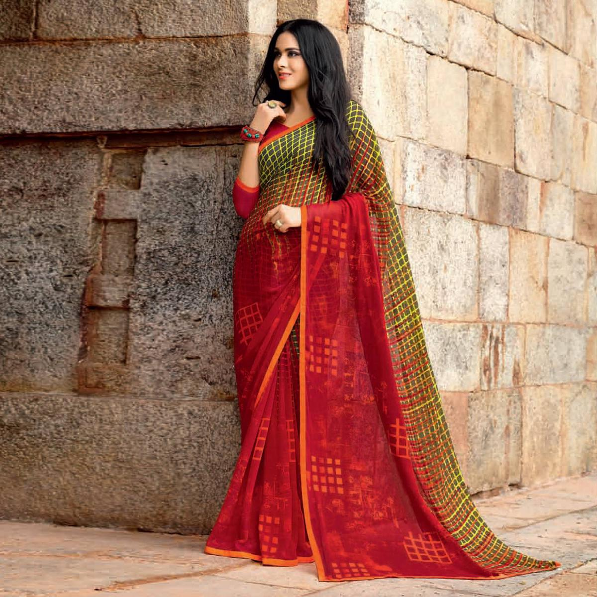 Charming Red Colored Casual Printed Weightless Georgette Saree