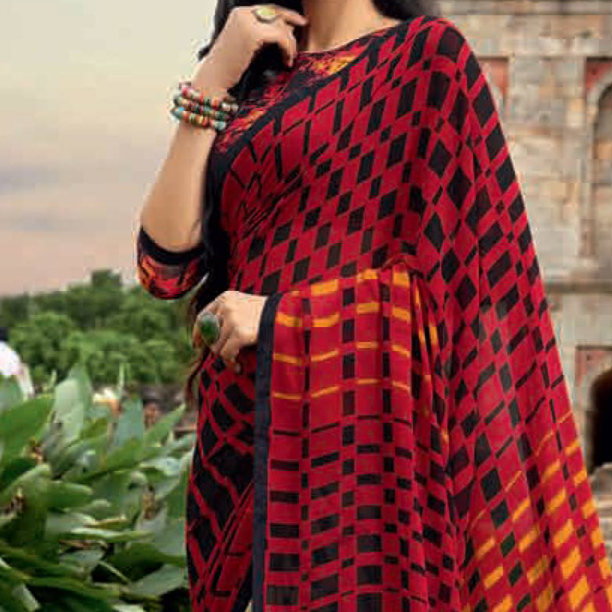 Gorgeous Red-Beige Colored Half N Half Casual Printed Weightless Georgette Saree