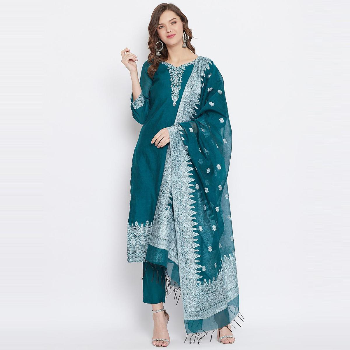 Safaa - New Green Colored Cotton Blend Woven Design Women Unstitched Dress Material With Dupatta