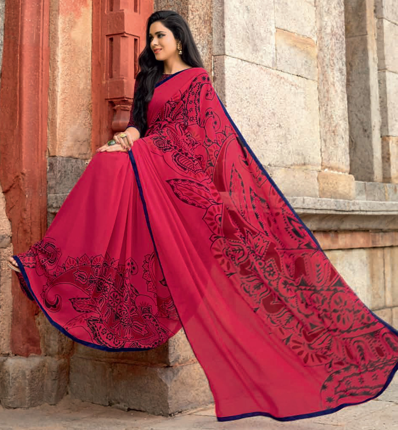 Ravishing Pink Colored Casual Printed Weightless Georgette Saree
