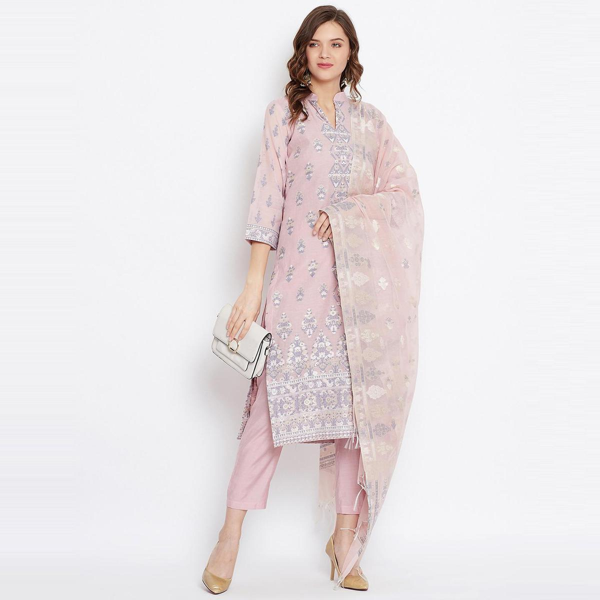 Safaa - Light Pink Colored Organic Cotton Woven Design Women Unstitched Dress Material With Dupatta
