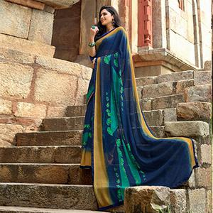 Graceful Navy Blue Colored Casual Printed Weightless Georgette Saree