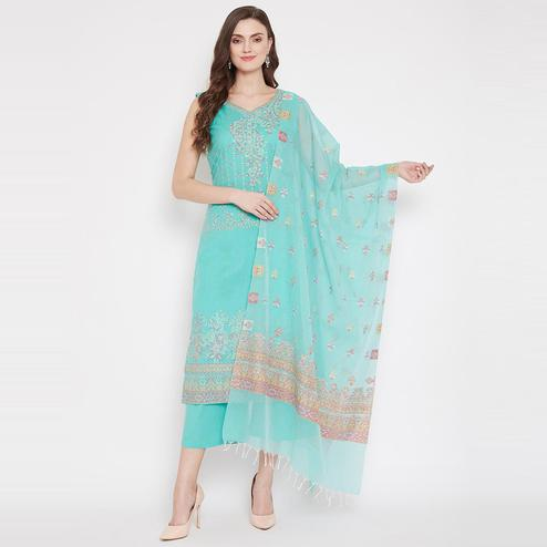 Safaa - Sea Green Colored Cotton Blend Woven Design Women Unstitched Dress Material With Dupatta