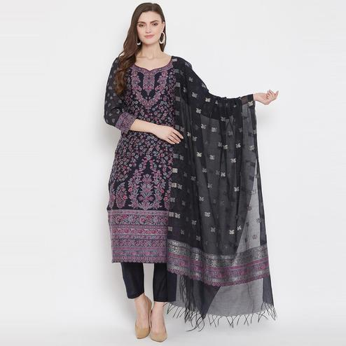 Safaa - Navy Colored Organic Cotton Woven Design Women Unstitched Dress Material With Dupatta