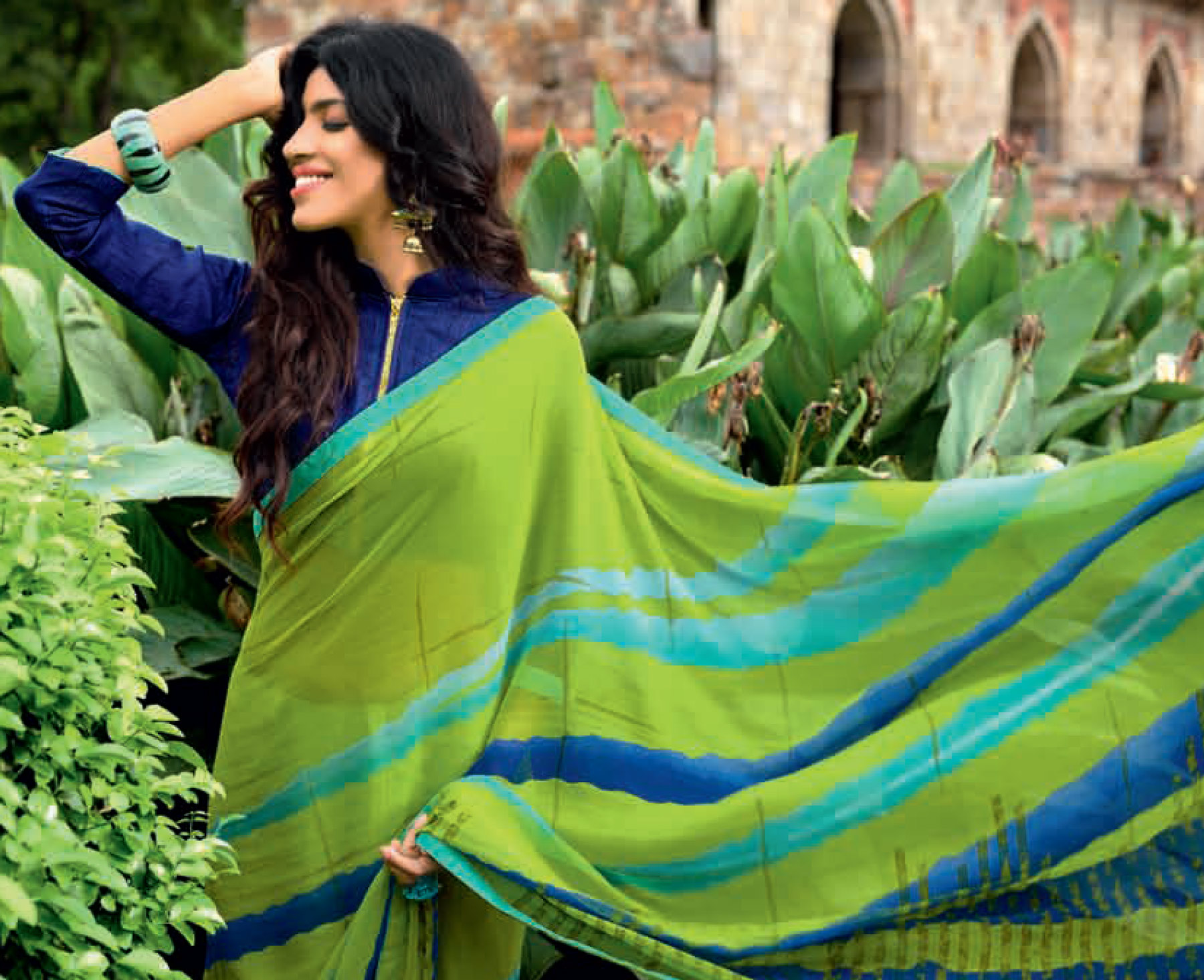 Lovely Green Colored Casual Printed Weightless Georgette Saree