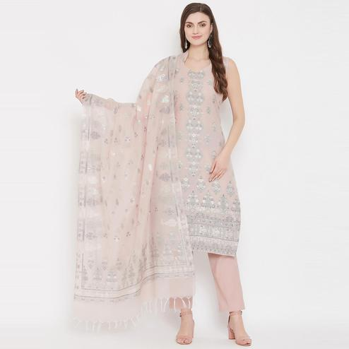 Safaa - Light Peach Colored Organic Cotton Woven Design Women Unstitched Dress Material With Dupatta
