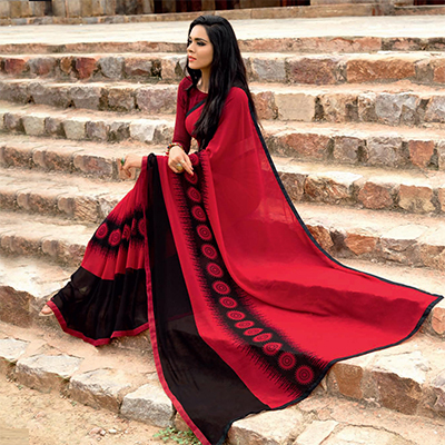 Attractive Red-Black Colored Casual Printed Weightless Georgette Saree