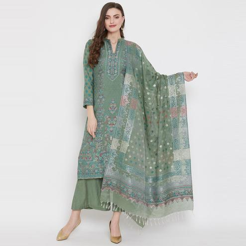 Safaa - Pista Colored Organic Cotton Woven Design Women Unstitched Dress Material With Dupatta