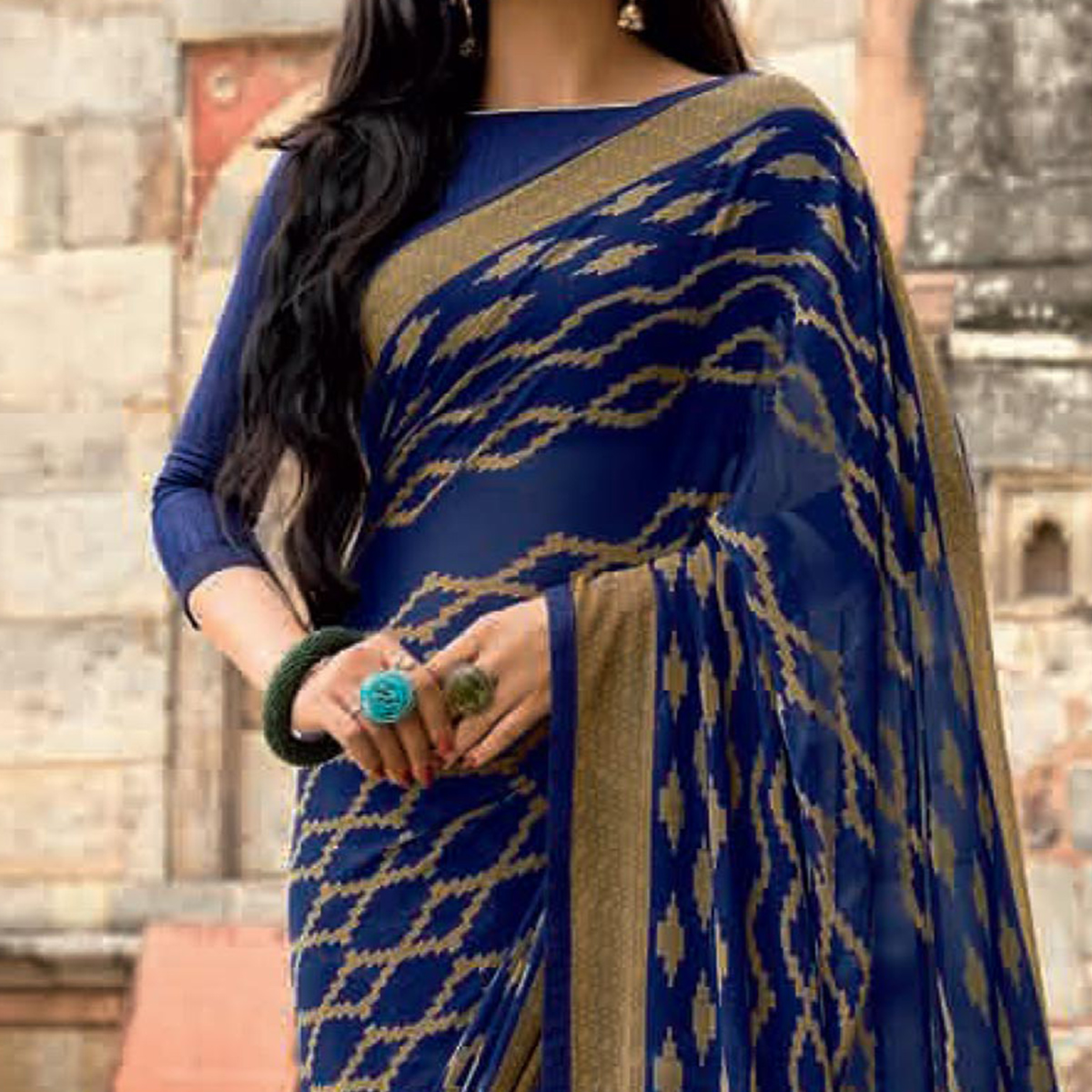 Charming Blue Colored Casual Printed Weightless Georgette Saree