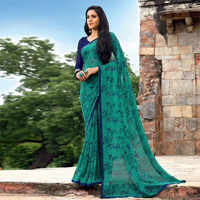 Gorgeous Green-Blue Colored Casual Printed Weightless Georgette Saree
