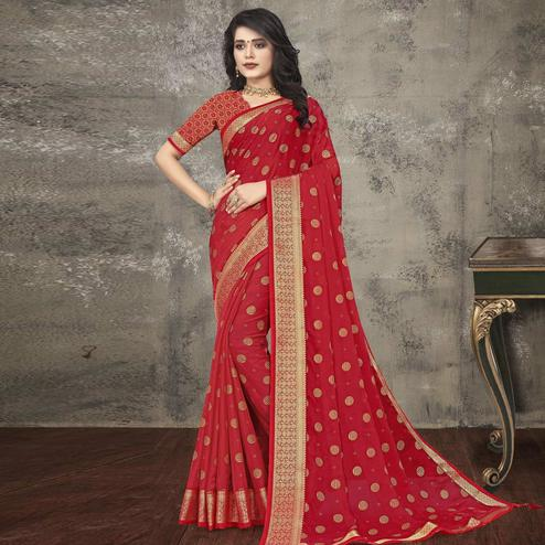 Indian Women Red Vichitra silk Printed with lace work Designer Saree