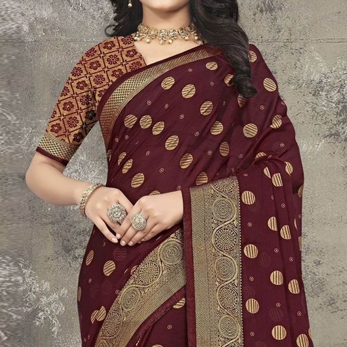Indian Women Maroon Vichitra silk Printed with lace work Designer Saree