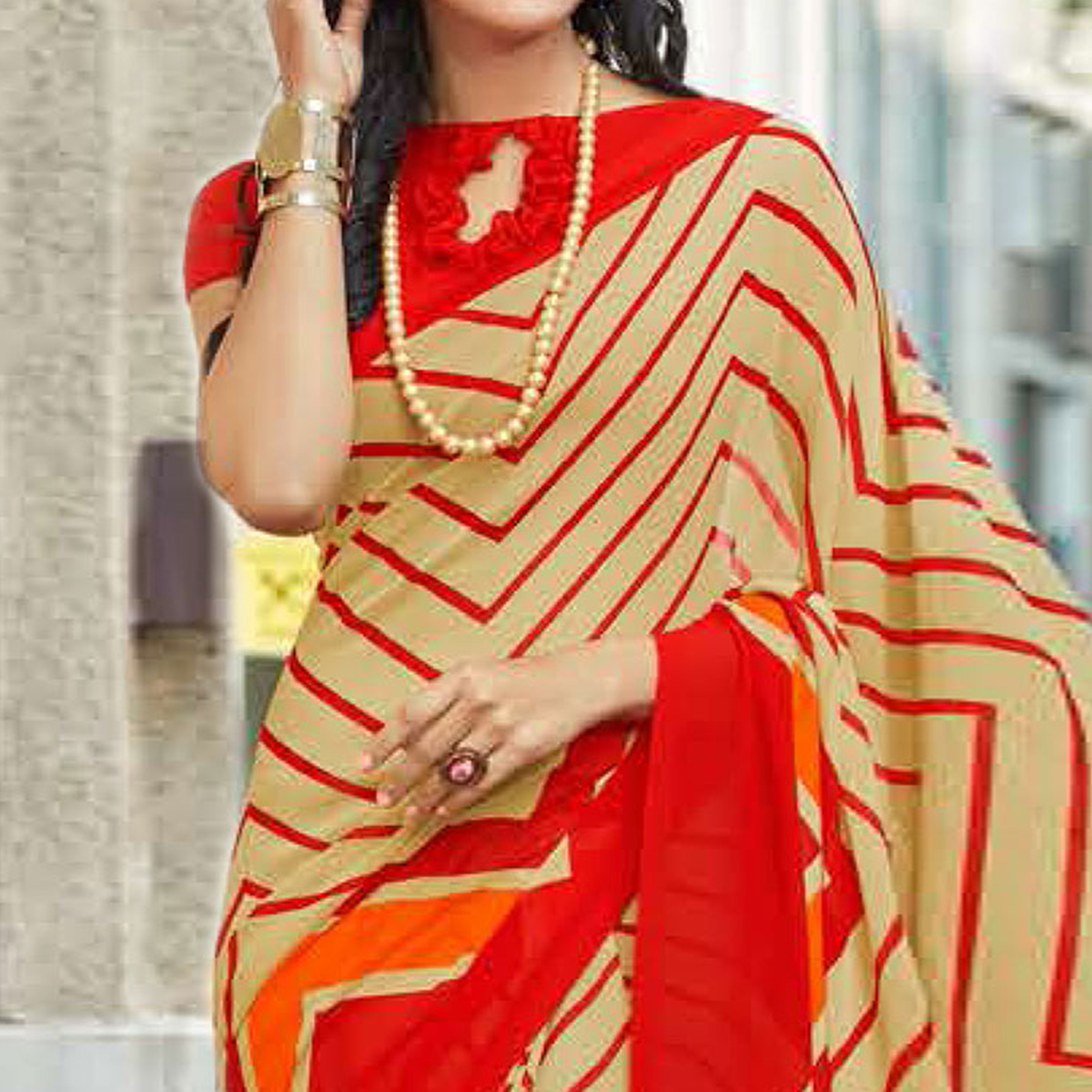Charming Beige-Red Colored Casual Printed Weightless Georgette Saree