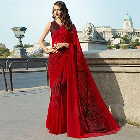 Gorgeous Red Colored Casual Printed Weightless Georgette Saree