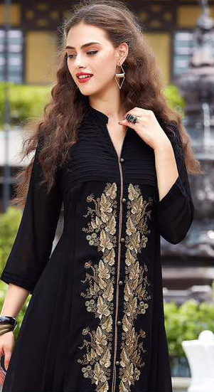 Black Floral Embroidered Work Kurti