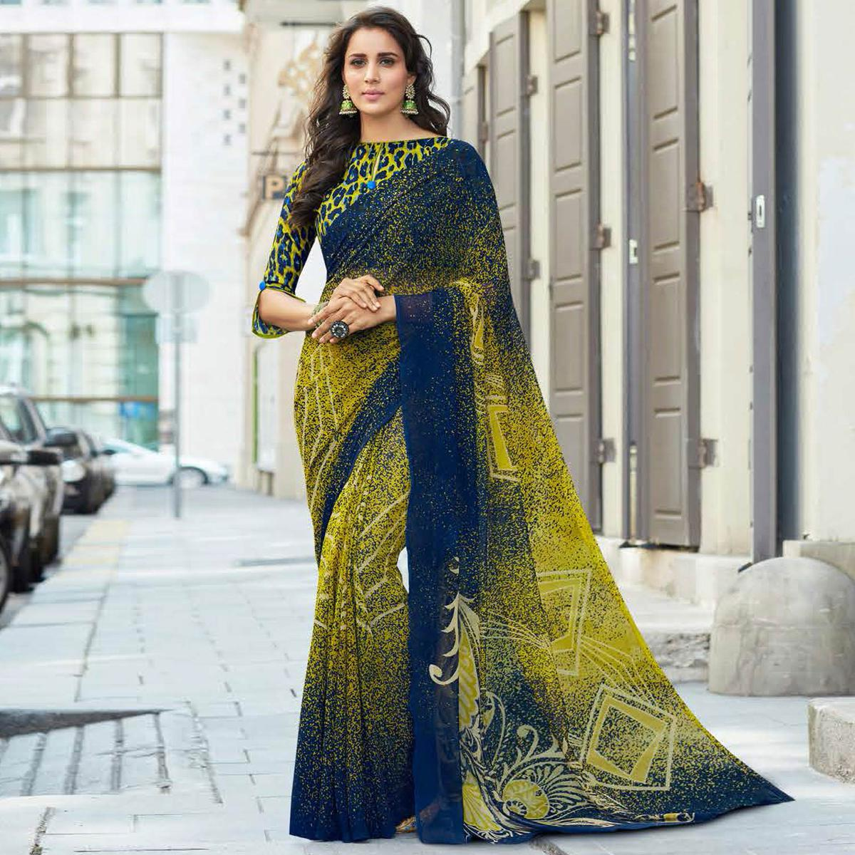 Stunning Green-Blue Colored Casual Printed Weightless Georgette Saree