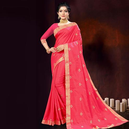 Indian Women Pink Vichitra silk Embroidered with Border Designer Saree