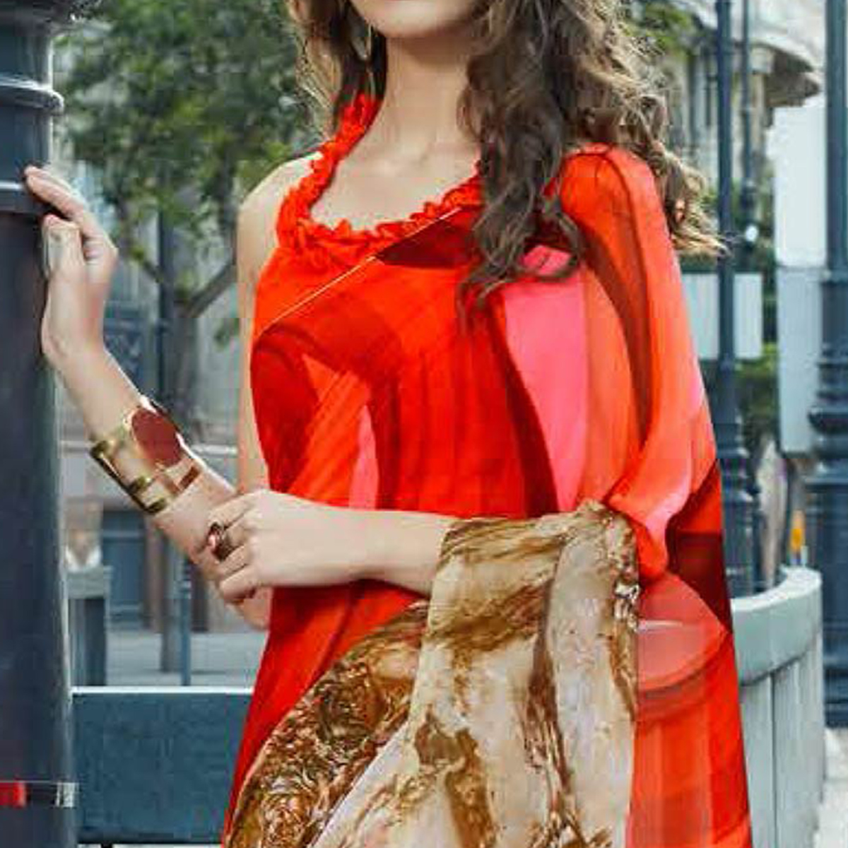 Lovely Orange Colored Casual Printed Weightless Georgette Saree