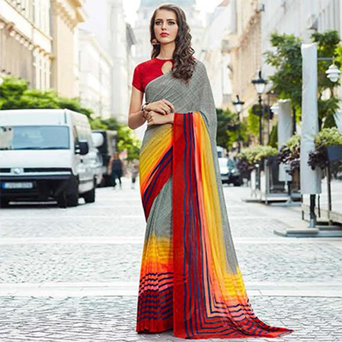 Stylish Gray Colored Casual Printed Weightless Georgette Saree
