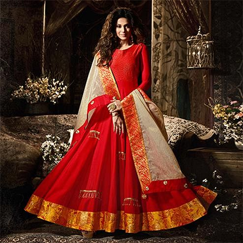 Mesmerising Red Party Wear Silk Anarkali Suit