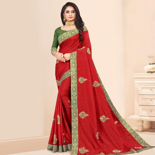 Indian Women Red Vichitra silk Lace Work Designer Saree