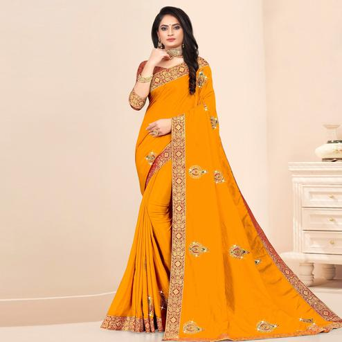 Indian Women Yellow Vichitra silk Lace Work Designer Saree