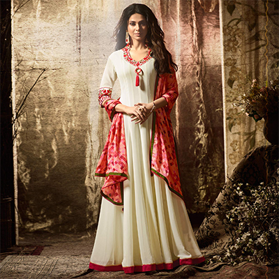 Ravishing Off White Party Wear Georgette Anarkali Suit