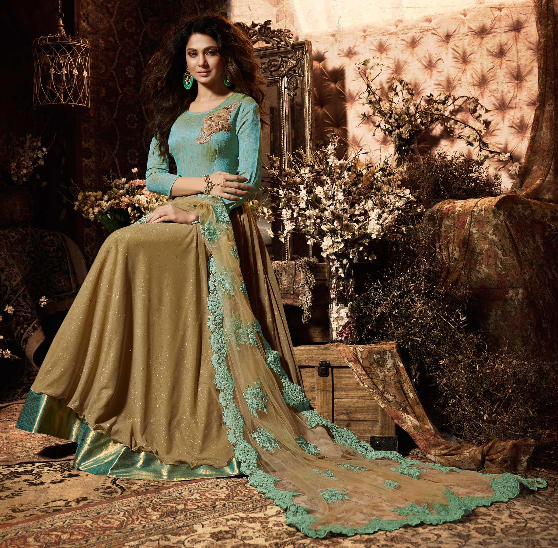 Amazing Brown Party Wear Lycra Anarkali Suit