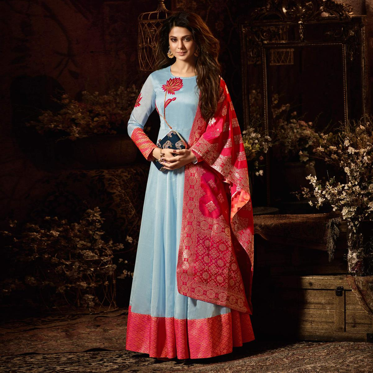 Charming Light Blue Party Wear Cotton Silk Anarkali Suit