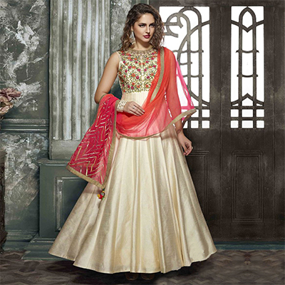 Gorgeous Cream Designer Partywear Hand Embroidered Art Silk Gown