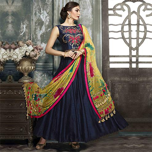 Ravishing Navy Blue Designer Partywear Hand Embroidered Banglori Silk Gown