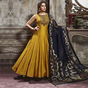 Charming Golden Yellow Designer Partywear Hand Embroidered Banglori Silk Gown