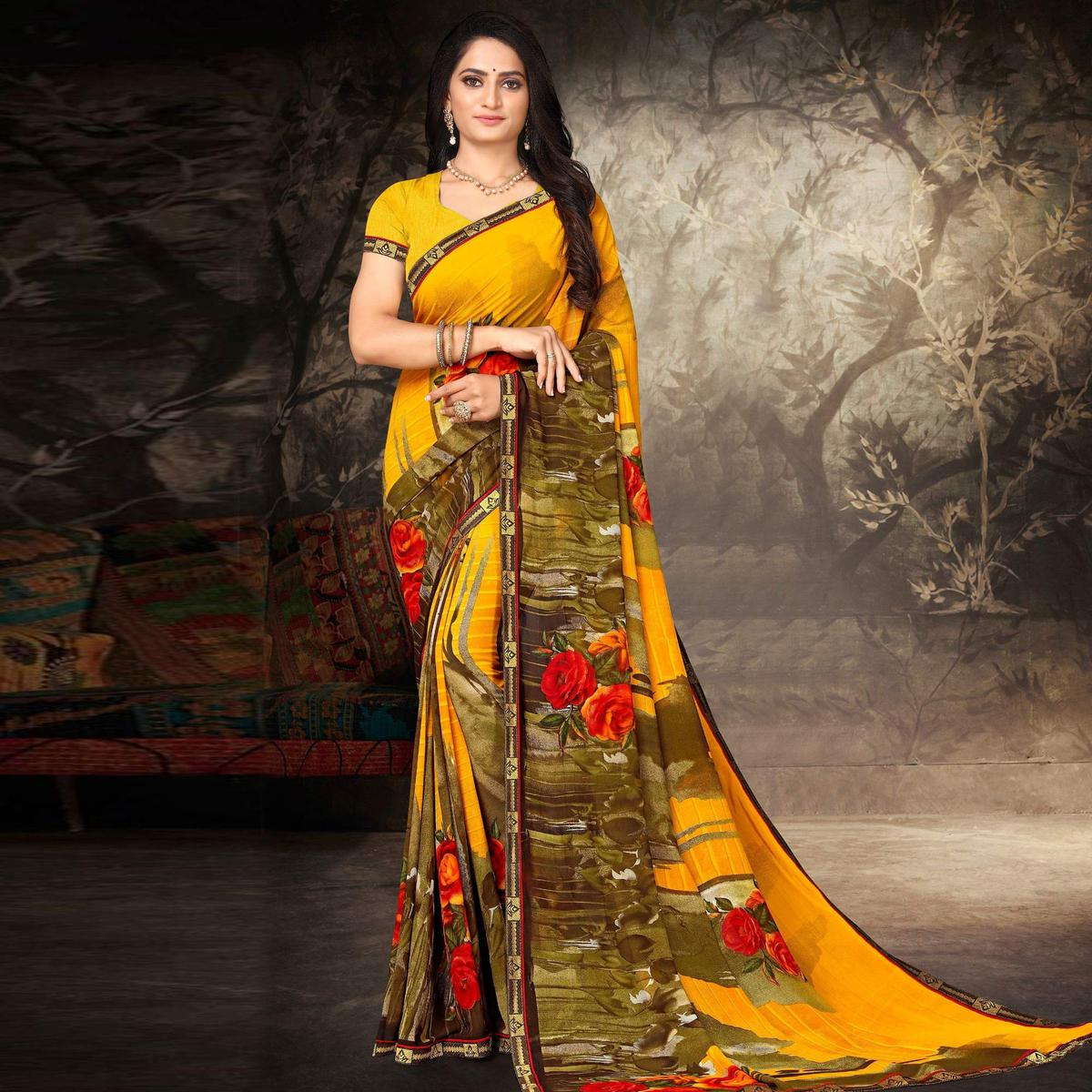 Indian Women Yellow and Green Georgette Printed Designer Saree