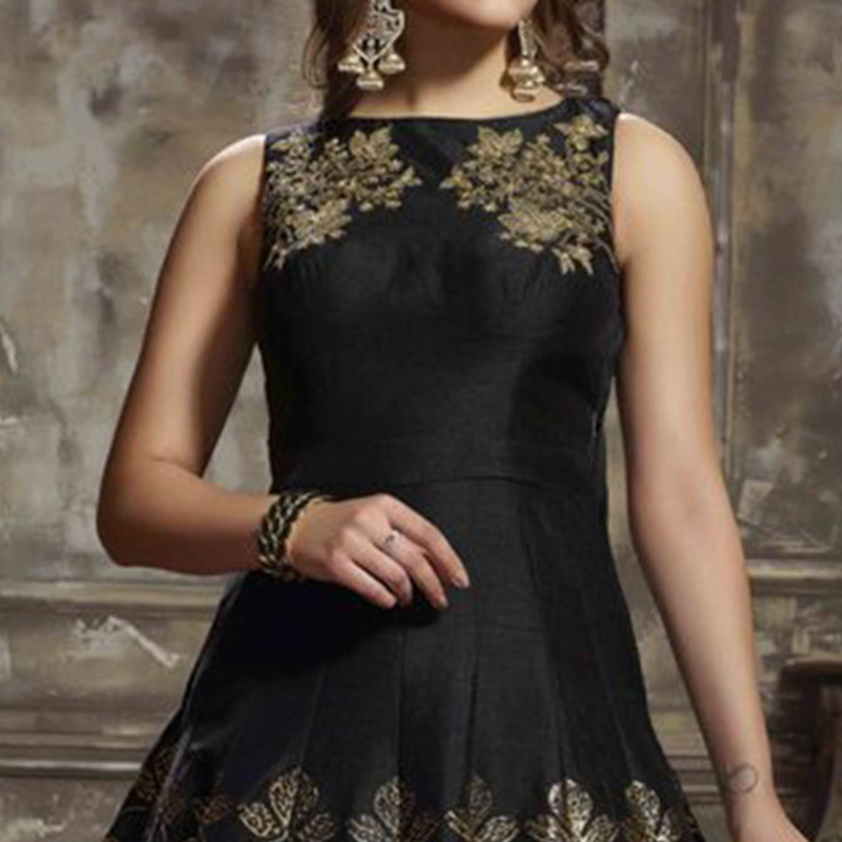 Mesmerising Black Designer Partywear Hand Embroidered Art Silk Gown