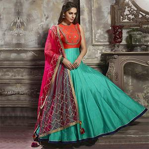 Sizzling Orange And Rama Green Designer Partywear Hand Embroidered Art Silk Gown
