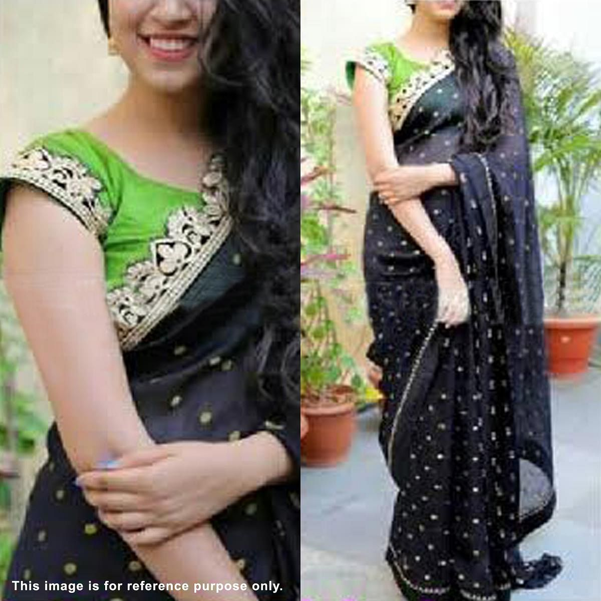 Sizzling Black Partywear Embroidered Georgette Saree