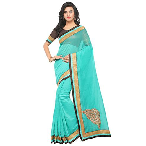 Pretty Blue Partywear Chanderi Silk Saree