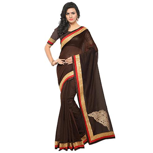 Beautiful Brown Partywear Chanderi Silk Saree