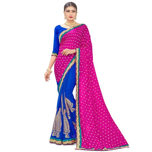 Jazzy Pink-Blue Colored party Wear Embroidered Georgette Half-Half Saree