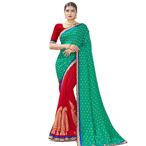 Ravishing Green-Red Colored party Wear Embroidered Georgette Half-Half Saree