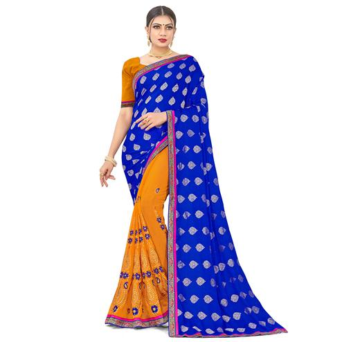 Engrossing Blue-Yellow Colored party Wear Embroidered Georgette Half-Half Saree