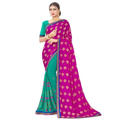 Captivating Pink-Turquoise Colored party Wear Embroidered Georgette Half-Half Saree