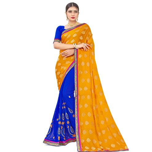 Innovative Yellow-Blue Colored party Wear Embroidered Georgette Half-Half Saree