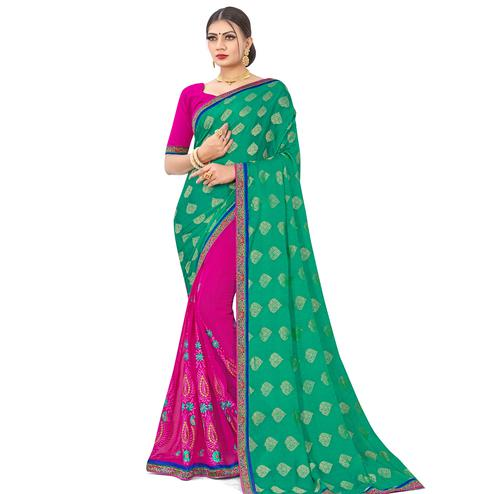 Eye-catching Green-Pink Colored party Wear Embroidered Georgette Half-Half Saree