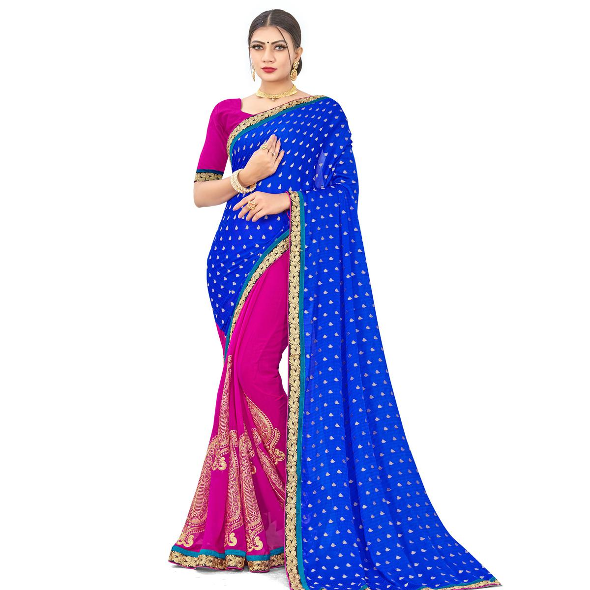 Fantastic Blue-Pink Colored party Wear Embroidered Georgette Half-Half Saree